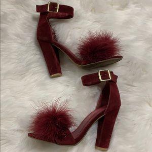 Burgundy fuzzy heels